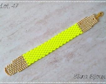 Peyote bracelet fluo yellow/gold