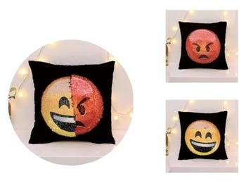 Emoji reversible sequin pillow happy/angry with feeling