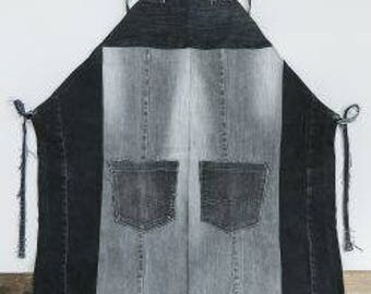 100% recycled apron gray and black