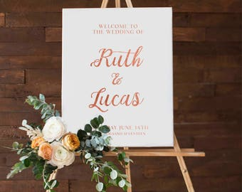 Printable Wedding Welcome Sign,  Rose Gold Foil,  Customize the names of the Bride & Groom,  DIY Printable Reception Chalkboard Sign
