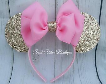 Mouse chunky glittery ears headband woven headband birthday pink and gold