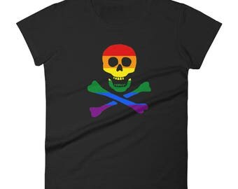 Rainbow Pride Pirate Jolly Roger Women's short sleeve t-shirt  lgbt lgbtqipa lgbtq mogai pride flag