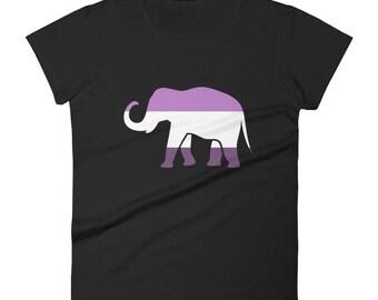 Queer Pride Elephant Women's short sleeve t-shirt lgbt lgbtqipa lgbtq mogai pride flag