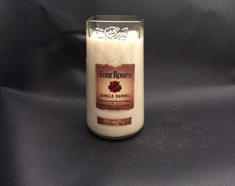 Four Roses Candle Single Barrel Bourbon Whiskey Bottle Soy Candle With/Without Pedestal Base. Made To Order !!!!!!!