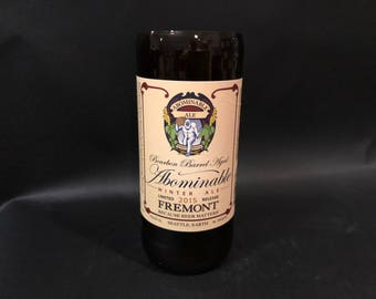 Fremont Brewing Seattle WA Abominable Winter Ale Bourbon Barrel Aged Beer Bottle Candle. Made To Order !!!!!