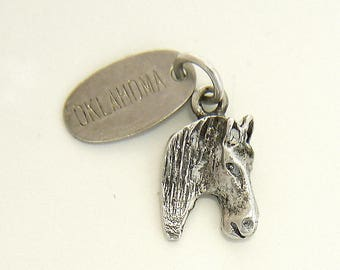 Detailed Horse Head Charm with Oklahoma Tag, Sterling Silver 925