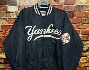 Vintage 90s New York Yankees Major League Baseball MLB Big Embroidery Logo Varsity Bomber Jacket Sportwear