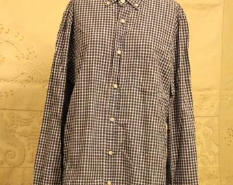 Blue/White Button Up Shirt (Size L)