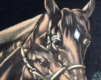 Horses Painting on Velvet Original Art Framed 16 x 12
