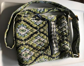 Retired Vera Bradley fabric print cross body bag, purse, shoulder bag,Navy blue light blue and green print fabric.