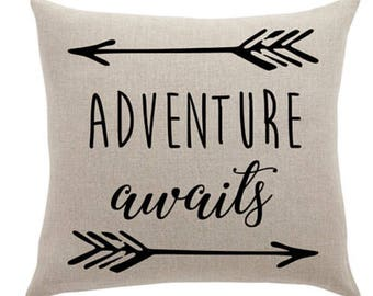 Rustic throw pillow - Adventure awaits canvas cotton cushion cover customizable pillow case decorative pillow cottage decor 16X16 or 18X18