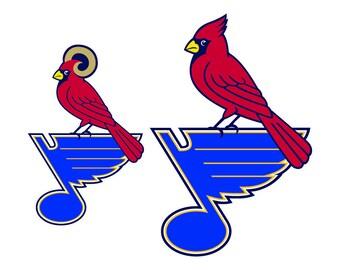 St Louis Cardinals Blues SVG Cut Files, St Louis Blues Cardinals DXF Cutting Files, Blue Cardinals Blues SVG Dxf Png Files, Instant Download