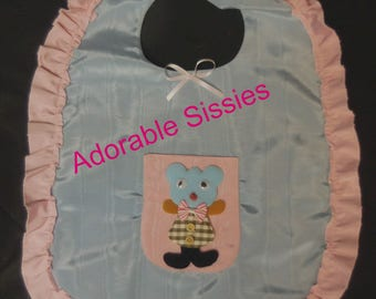 ABDL dress up bib in blue and pink trim moire taffeta - adult sissy baby.