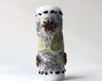 "PROTECTION Altar Candle- Dressed w/Herbs, Black Salt, Black Tourmaline, Black/Grey Glitter, 2""x6"" Burns 20 hrs wicca magic spell banishing"