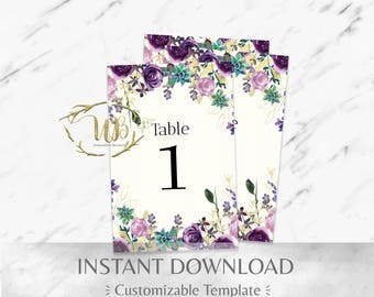Purple and Mint Watercolor Floral Wedding Table Numbers Template
