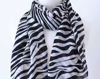Soft Elegant Long Wrap Scarves / Black, Brown and White / Natural Zebra Print Spring Summer Scarf / Women Scarves