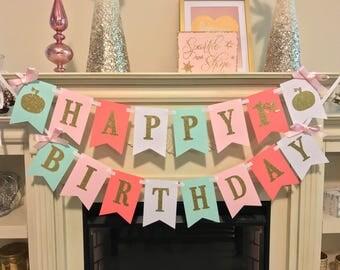 Little Pumpkin Birthday Banner- Pumpkin Birthday Banner- Gold Glitter Pumpkin- Glitter Fall Birthday- Fall Birthday Decorations