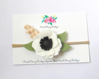 White Anemone headband, baby girl headband, felt flower headband, white flower headband, flower crown, toddler bow headband, flower headband