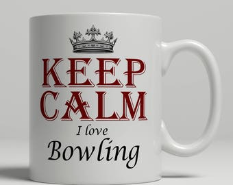 Bowling coffee mug, KEEP CALM, bowling gift idea, bowling mug, bowling fan mug, coffee mug bowling, mug bowling Keep bowling