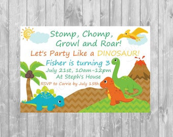 Dinosaur Birthday Invitation - Digital copy