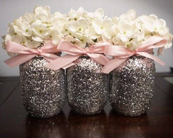 3 Glitter Mason Jars, Pink Ribbon, Centerpiece, Decoration, Baby Shower Centerpieces, Bridal Shower Centerpieces
