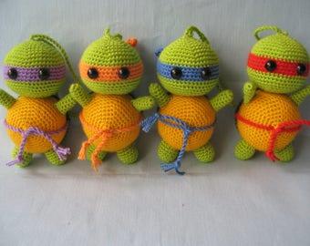 Turtle Ninja PACK Ninja turtles Charm bag Crocheted Teenage Mutant Ninja Turtles  Keychain amigurumi ninja turtle collectible TMNT