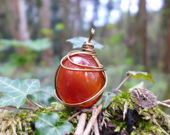 Carnelian pendant and wire wrapped copper wire