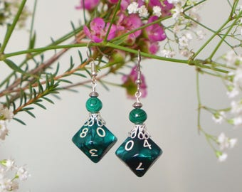 D10 earrings and malachite beads