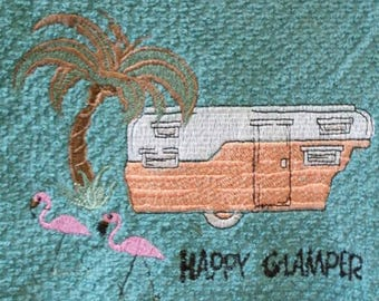 Vintage Retro Glamper Trailer Home Sweet Home  Glamping Camping and Flamingo Kitchen Towel
