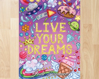 Live Your Dreams by Jade Summer (Coloring Books, Coloring Pages, Adult Coloring Books, Adult Coloring Pages)