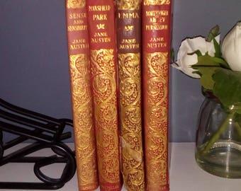Antique Jane Austen books, leather, illustrated, Emma, Northanger Abbey, Sense & Sensibility, Mansfield Park, Persuasion. Gorgeous gilt.