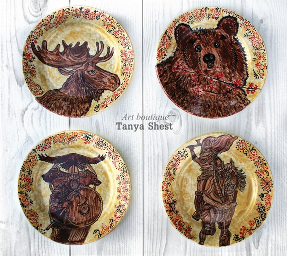 Like this item? & Set of 4 decorative plates Gardarika in Russian style Home