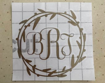 Monogram Wreath Decal