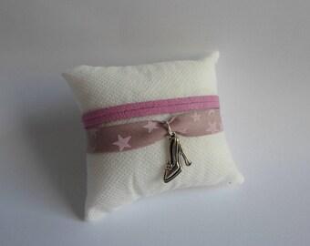 Purple suede and fabric bracelet