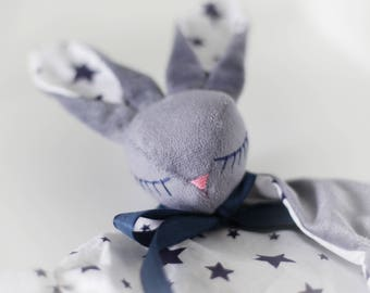 Baby Comforter/Grey and Blue/Star Pattern/Lovey/Security Blanket/Bunny lovey/Baby Lovey/Soft Bunny/Baby Toy/Plush Bunny/Baby Sleep Cloth