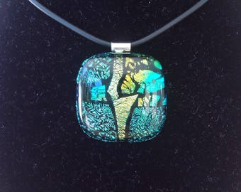 Pendant fused glass, silver bail and soft black necklace with silver closure