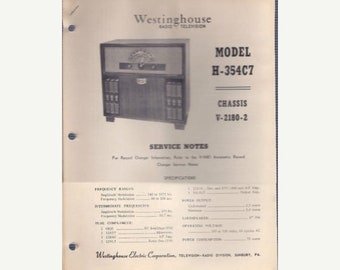Tech-Lit Westinghouse Radio Service Manual - H-354C7