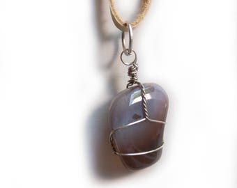 Silver Wire Wrapped Purple Agate and Smoke Leather Necklace