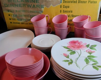 Andover Melamine Rose in Bloom Dinnerware 31pc set