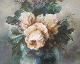 """Oil painting""""Roses in a vase"""""""
