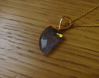 tooth labradorite 24K gold plated with blue stone necklace