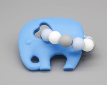 "Silicone Teether ""BlueElephant"" grippling"