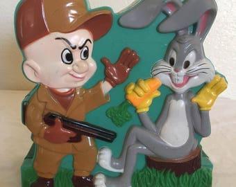 Vintage 1977 Warner Bros Bugs, and Elmer Fudd Talking Piggy Bank! (Missing parts)