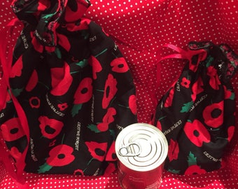 Remembrance day bags , Poppy drawstring bag , remembrance day , lest we forget ,donation from each goes to royal british legion poppy appeal