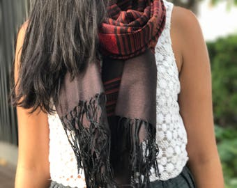 Red and Brown Striped Thai Silk Scarf