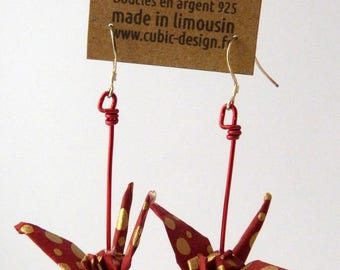 Orange dotted crane origami earrings