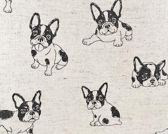 French Bulldog fabric, Boston Terrier fabric, dog fabric, Japanese Kudo fabric, cotton linen natural, puppy fabric