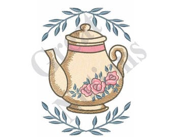 Rose Teapot And Leaves - Machine Embroidery Design