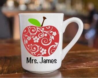 Teacher coffee cup decal, teacher gift, teacher appreciation, first day of school gift, apple coffee cup, teacher cup, teacher mug,