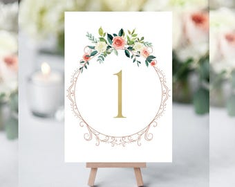 Gold Table Numbers, Floral Table Numbers, Table Numbers for Wedding, Table Number Cards, Table Numbers Printable, Rustic Table Numbers